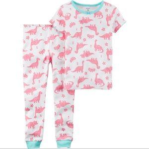 Carters Girl Dino dinosaur pajamas 100% cotton NWT